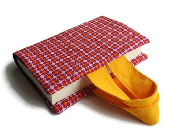 Book Pocket - printed vintage style, floral - Fuschia and yellow, Black Interior. Bookmark of the same print.