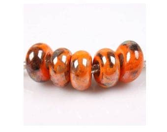 set of 5 large beads in orange cerammique decorated