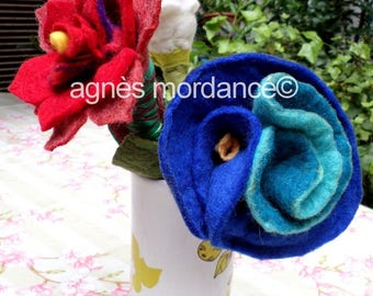 Large blue flower felted wool - OOAK