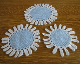 SET of three DOILIES diameter 12-13 and 15 CM handmade new