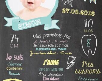 "Share birthday or christening ""Simon"" theme retro Blackboard effect"