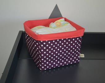 Reversible polka dot 20 x 20 cm fabric basket perfect for a child's room or bathroom