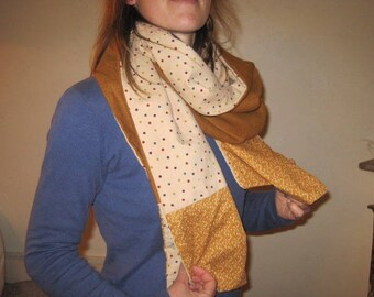large scarf in linen and velvet