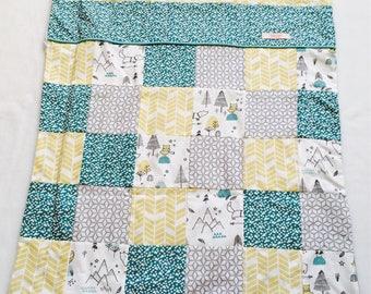 Couverture pour bébé - cotton / minkee - grey blue yellow green water