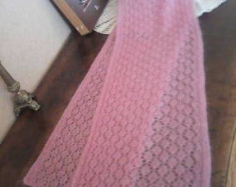 SCARF PINK HANDKNITTED kid mohair and silk lace