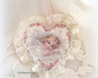 Lace heart Victorian shabby old hanging