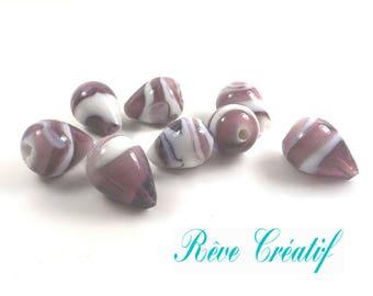 5pcs Perles Goutte 21mm en Verre Lampwork Façon Murano Pourpre et Blanc