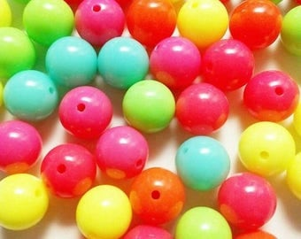 Set of 44 beads neon 16mm