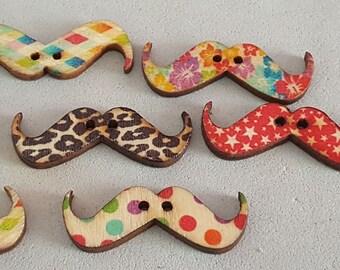 30 x 11 mm, 6 buttons scrap mustache buttons scrap, fancy buttons