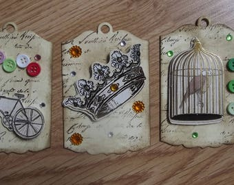 3 tags vintage for your scrapbooking creations.