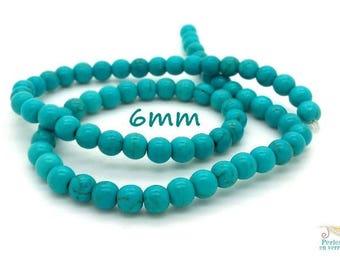 70 (ph163) 6mm turquoise Howlite beads