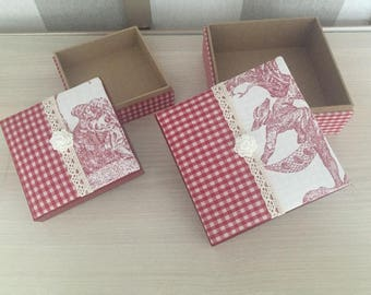 Boxes handmade gingham canvas red Jouy French country Shabby Chic flower lace