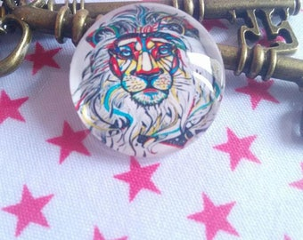 1 cabochon of glass 25 mm Lion