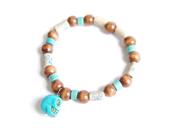 Shaman - Wood Bangle with turquoise skull charms