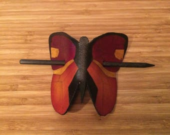 Leather Hair Barrette - Butterfly