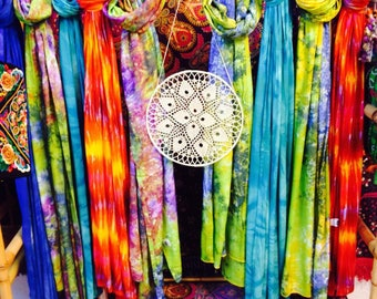Tie Dye Bright Colourful Lightweight Summer Boho Hippie Long Scarf Wrap 4 COLOURS