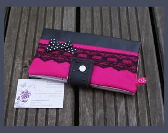 "checkbook, ""pretty in pink"" card holder"