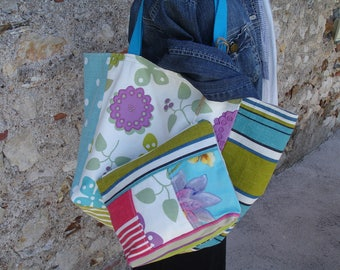 reversible Tote in shades of lime green, turquoise, purple