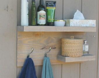 2 large Tier Floating Shelf, Rustic Modern Bathroom, Towel Rack, Bronze Robe Hooks, Modern Coat Rack, Rustic bathroom Reclaimed Shelves