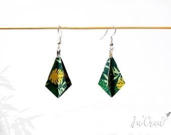 Origami earrings geometric Rhombus jungle