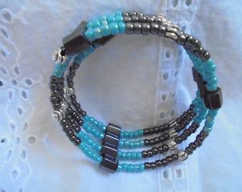 Czech bead magnetic hematite wrap bracelet