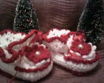 Red and white booties 3-6 months