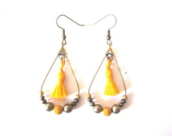 Earrings Creole bronze oval yellow beads and tassel