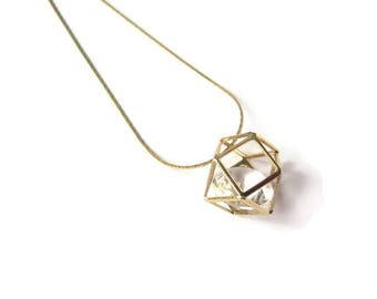 Necklace mid-length caged Crystal pendant