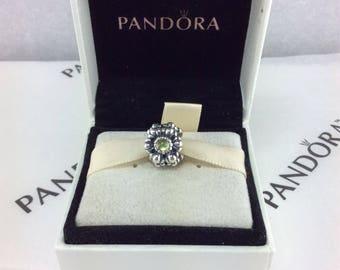 Pandora Retired Birthday Blooms, August, Peridot Charm #790580PE