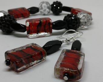 Red and Black beaded bracelet set