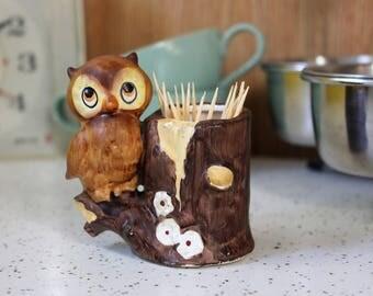Vintage Ceramic Owl Toothpick Holder Woodland Woodsy Kitsch