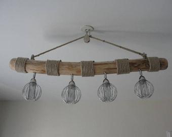 Driftwood chandelier 4 metal and hemp adjustable spots
