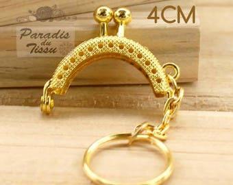 1 x mini bag clasp 4cm metal gold K165