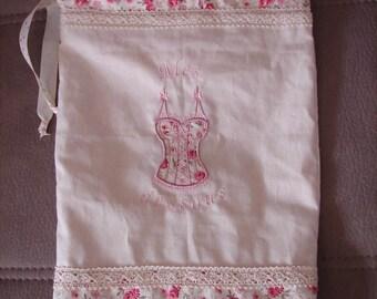 """My underneath"" underwear bag embroidered fabric"