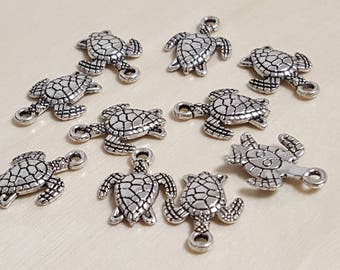 10 14mm x 13mm antique silver turtle