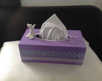 """Cat... Tissue box """"I'll get you""""... red and White Gold Diamond"""