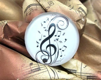 1 cabochon 25 mm treble clef white glass - 25 mm