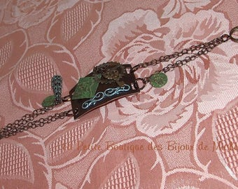 """""""Industry"""" brass - wheel and key in green and silver bracelet"""