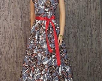 DRESS knee long dress made of Wax. HAND MADE