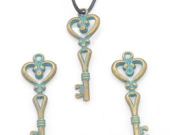 Metal bronze blue 44x15mm key pendant