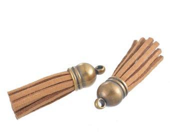 Set of 2 pom poms, tassels fringe Creation 39x10mm pendants