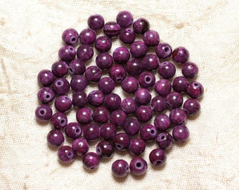 Wire 65pc approx 39cm - jade stone - balls 6mm Fuchsia Pink Purple