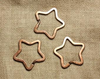 4pc - 34mm 4558550006103 star copper Metal key rings
