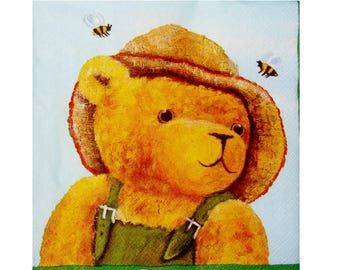 Set of 3 OUR001 beekeeper bear paper napkins