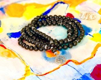 Shungite 108 Mala,Tree of lifeWrap bracelet,Mala Necklace,Buddhist Prayer Beads,Meditation,Nurturing,Calming,Compadsion,Truth,EMF Protection