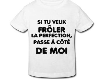"Kids white t-shirt personalized ""Humorous"" Flex"