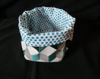 Blue checked fabric basket