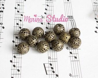 10 pearls 10mm bronze openwork (t05)