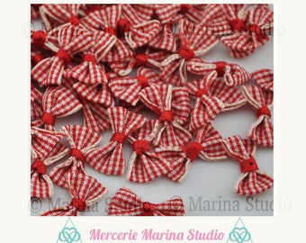 2 red and beige 25x18mm gingham bows
