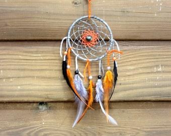 Dream catcher black, gray and orange / real 30 cm